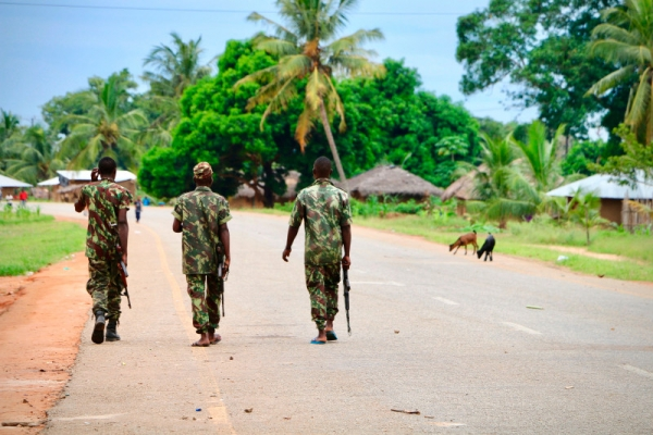 Mozambican soldiers patrol the streets in Mocimboa da Praia, March 2018