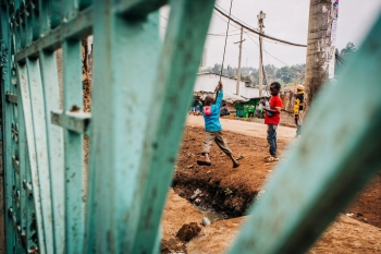 Children playing in a run-down place