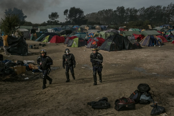 Riot police at the Jungle in Calais, France