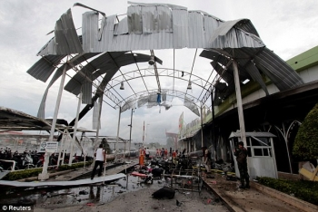 Blast site seen outside of supermarket in Pattani, Thailand May 9, 2017