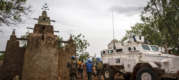 UN peacekeepers from Senegal patrol the town of Mopti in central Mali. (July 2019)