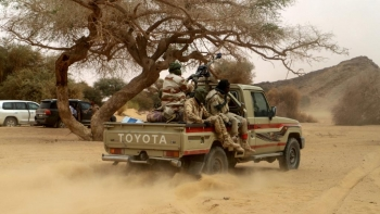 Niger soldiers patrol in the desert of Iferouane,  Agadez Region, February 2020