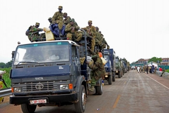 Uganda People's Defence Forces' trucks enroute to evacuate their citizens in South Sudan, July 14, 2016.
