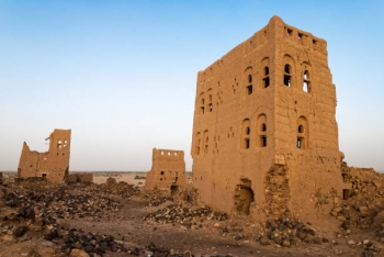 Destroyed buildings in local village within the Marib district, Yemen
