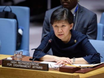 The UN High Representative for Disarmament Affairs, Izumi Nakamitsu, delivering her speech to the UN Security Council