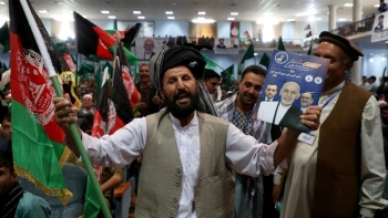 President Ghani's supporters attend his rally in Kabul