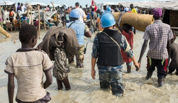 Peacekeepers providing protection to civilians during the UN mission in South Sudan