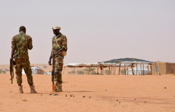 Nigerien guards at the Tazalit United Nations refugee camp in the Tahoua region