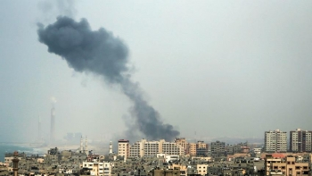 Israeli strikes in Gaza, which is 365 km2 and home to close to 2 million Gazans and displaced Palestinians.