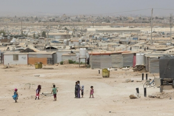 The Za'atari Refugee camp in Jordan that houses 80,000 Syrian refugees