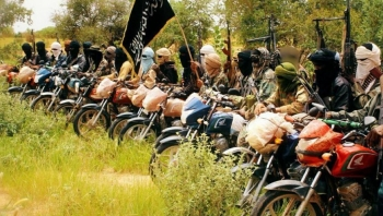 Jihadist fighters using motorcycles in Central Mali
