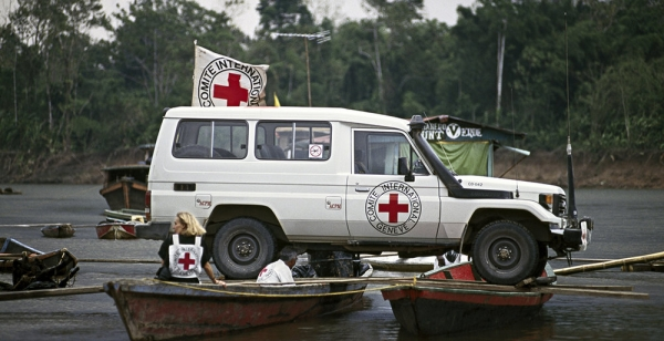 "An ICRC vehicle while ""navigating"" a river"