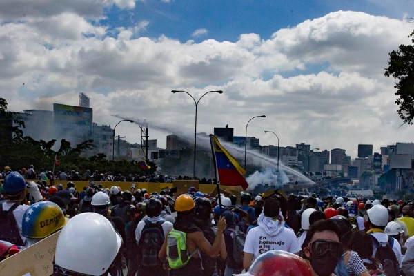 Water cannon use by Venezuelan security forces during a protest in Caracas