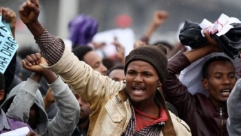Protesters took to the streets of capital city Addis Ababa.