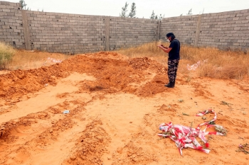 A reportedly mass grave in the town of Tarhuna