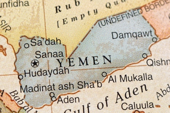The capital Sana'a and the city of Hudaydah on the map of Yemen