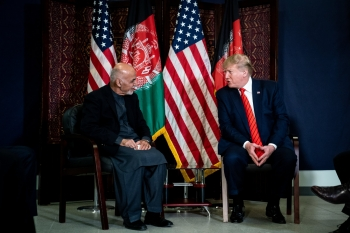 Donald Trump and Ashraf Ghani at a meeting in Kabul this past November