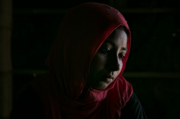 Portrait of Minara Begum, an outreach worker for the Multi-Purpose Women's Centre in Balukhali camp for Rohingya refugees