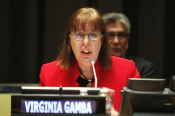 Virginia Gamba, Special Representative for Children and Armed Conflict, speaks during an event at the U.N.