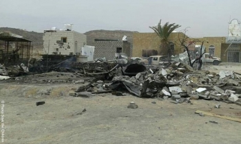 The aftermath of a petrol station bombing in Taiz