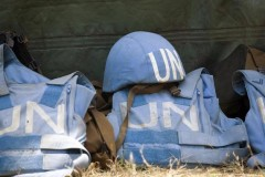 Helmet and flack Jackets of peacekeepers