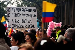 People in Colombia protest against the FARC