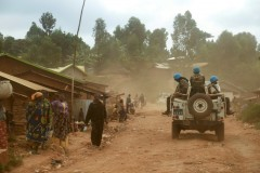 UN peacekeepers from Morocco carry out a patrol in the Democratic Republic of the Congo in March 2020