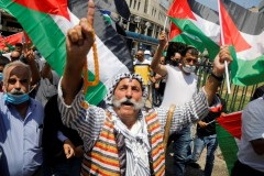 Palestinians in the West Bank protesting against the UAE's deal with Israel to normalise relations
