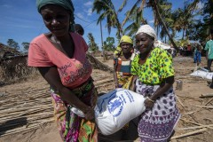 Affected communities receiving WFP food relief in Cabo Delgado province, Mozambique