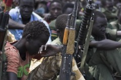 Child soldiers at a disarmament ceremony in South Sudan