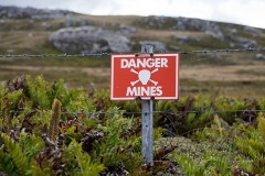 A warning sign in the Falkland Islands, marking an area still not cleared of mines.