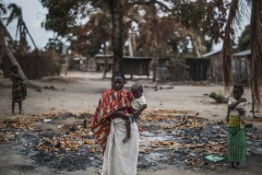 Mozambican mother and her child at one of the affected northern villages
