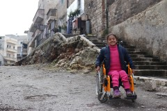 East Aleppo City, Syria: eight-year-old paralysed by an exploding bomb lost the use of her legs