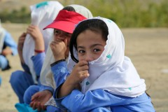 Afghan girls in a settlement of internally displaced persons