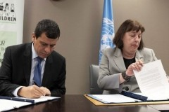 The Force Commander of the Syrian Democratic Forces, General Mazloum Abdi and the Special Representative of the UN Secretary-General for Children and Armed Conflict, Virginia Gamba, signed an Action Plan to end and prevent recruitment and use of children, 29 June, 2019.